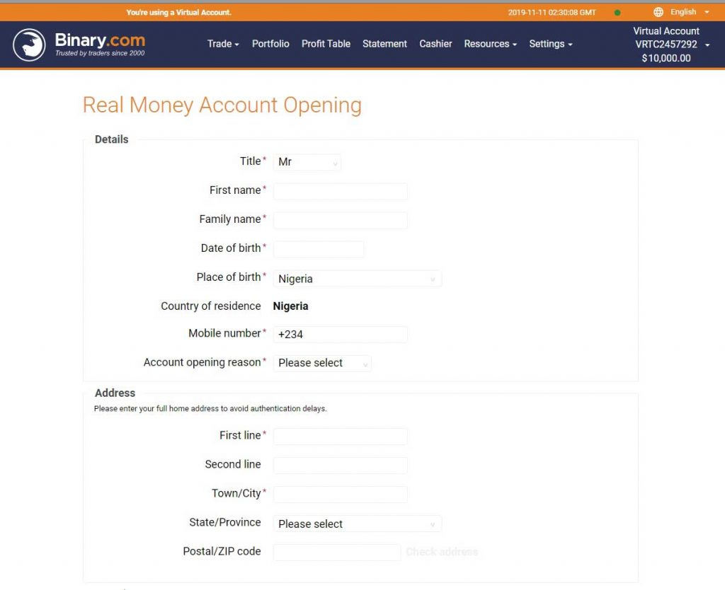 Register account on binary.com